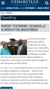 Cederville University Parent Prep