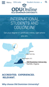 Old Dominion University International Students Online
