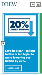 Drew University Tuition Reset