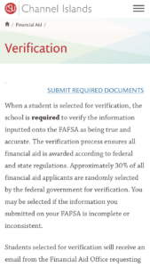 Cal State Channel Islands FAFSA Verification