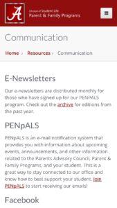 University of Alabama Parents Communications