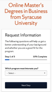 Syracuse University Online MBA inquiry form