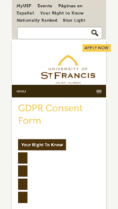 University of St. Francis GDPR Consent Form