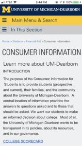 University of Michigan Dearborn Consumer Information