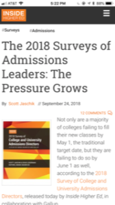 Inside Higher Ed Admissions Director Survey