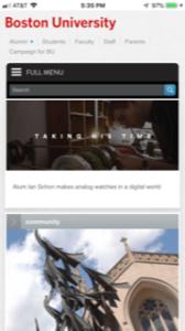 Boston University home page