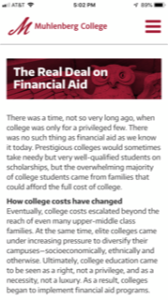 Muhlenberg College Real Deal on Financial Aid