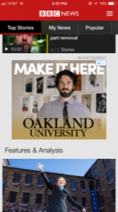 Oakland University mobile ad