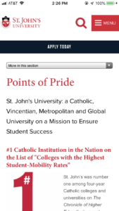 St. John's University Points of Pride