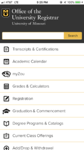 University of Missouri Registrar