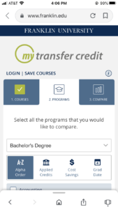 Franklin University Transfer Credit